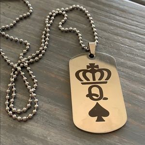 Silver Necklace Dog Tags Crown/Q/Spade Men/Women